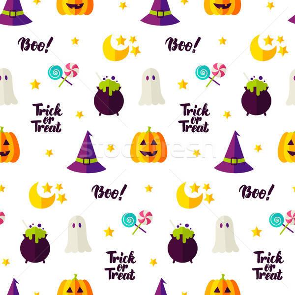 Halloween csemege végtelen minta ünnep trükk textúra Stock fotó © Anna_leni