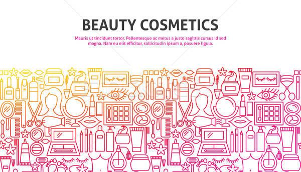 красоту косметики линия веб-дизайна баннер шаблон Сток-фото © Anna_leni