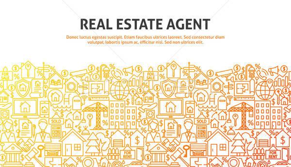 Agent immobilier ligne conception de site web bannière modèle affaires Photo stock © Anna_leni