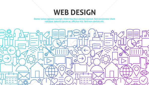 Web design lijn website banner sjabloon computer Stockfoto © Anna_leni