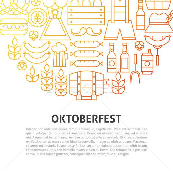 Oktoberfest line Gliederung Vorlage Party Hintergrund Stock foto © Anna_leni
