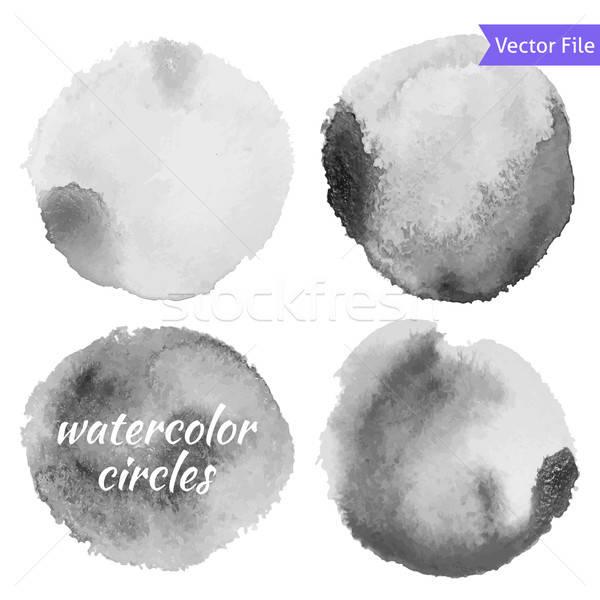 Stock fotó: Vízfesték · szürke · vektor · körök · szett · izolált