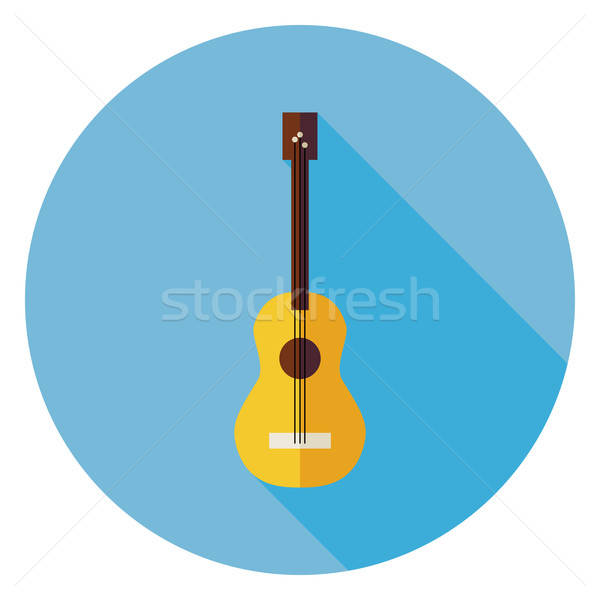 Flat Acoustic String Guitar Circle Icon with Long Shadow Stock photo © Anna_leni