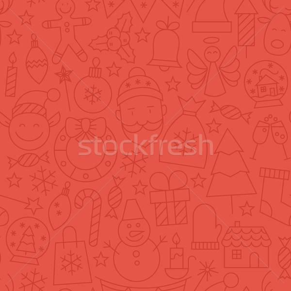 Line Art Happy New Year Red Seamless Pattern Stock photo © Anna_leni