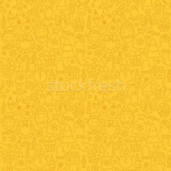 Line Art Happy New Year Seamless Yellow Pattern Stock photo © Anna_leni