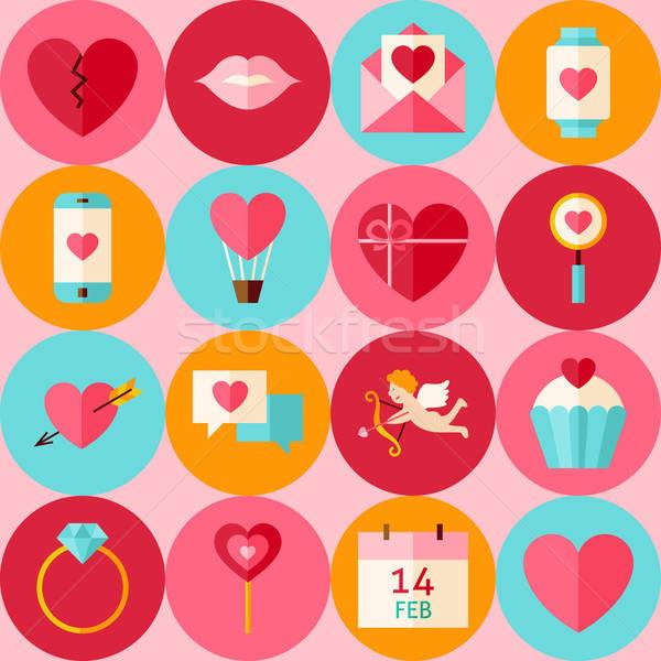 ストックフォト: ベクトル · ピンク · バレンタイン · 日 · サークル