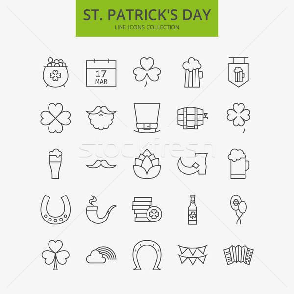 Line Happy Saint Patrick Day Icons Big Set Stock photo © Anna_leni
