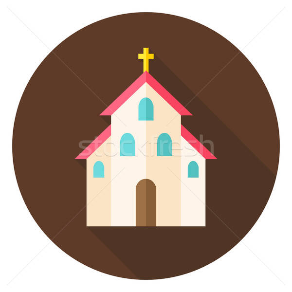 Christian Religion Church with Cross Circle Icon Stock photo © Anna_leni
