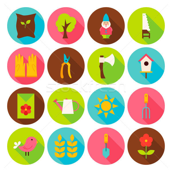 Gardening Tools Circle Icons Set with long Shadow Stock photo © Anna_leni