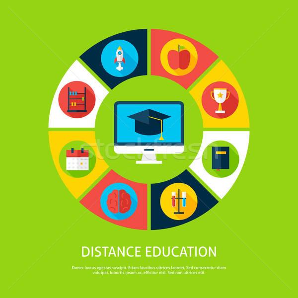 Distância educação teia infográficos círculo Foto stock © Anna_leni