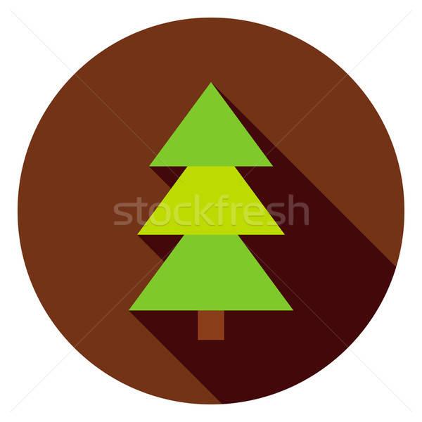 Coniferous Christmas Tree Circle Icon Stock photo © Anna_leni