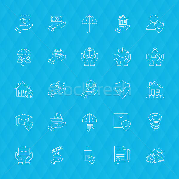 Insurance Services Line Icons Polygonal Stock photo © Anna_leni