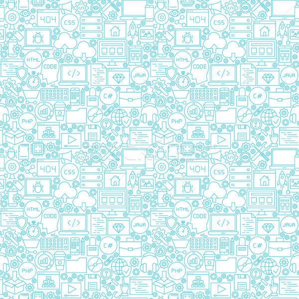 Line Coding White Seamless Pattern Stock photo © Anna_leni