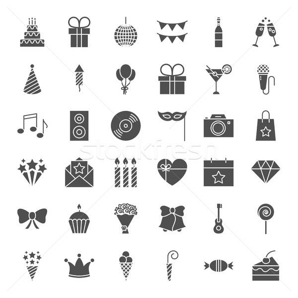 Birthday Solid Web Icons Stock photo © Anna_leni