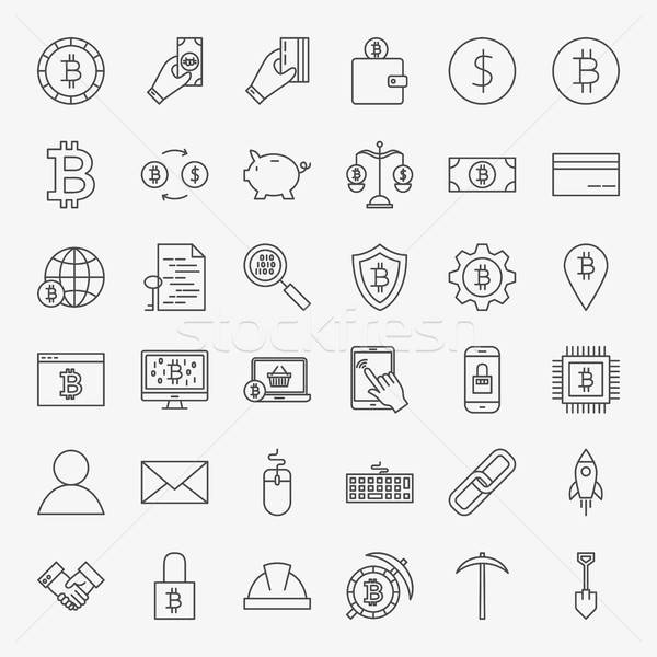 Cryptocurrency Line Icons Set Stock photo © Anna_leni