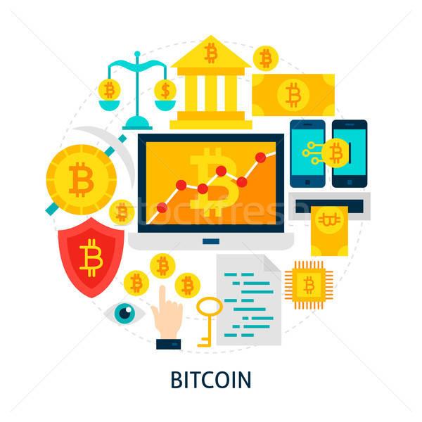 Bitcoin cartaz projeto conjunto dinheiro fundo Foto stock © Anna_leni