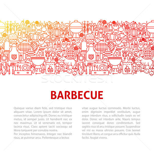 Barbeque vonal design sablon skicc szalag buli Stock fotó © Anna_leni