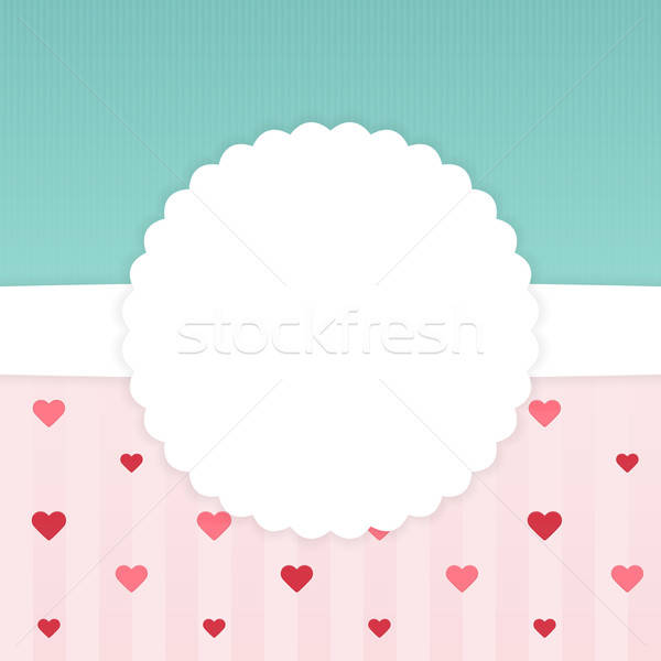 Blue and pink stripped card template with hearts Stock photo © Anna_leni