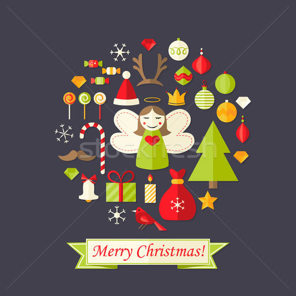 Stock photo: Christmas Card with Flat Icons Set and Angel Dark Blue