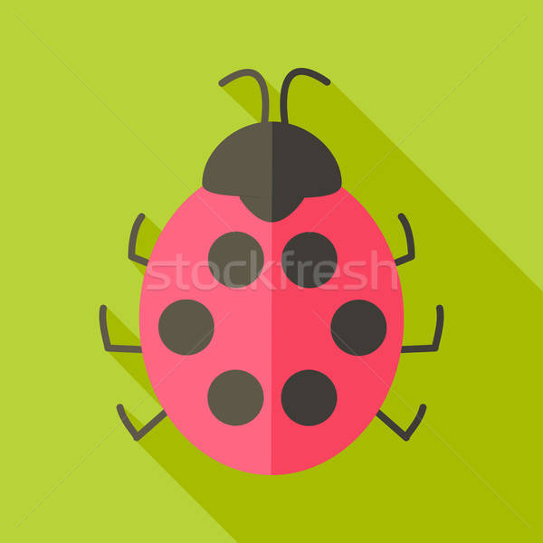 Photo stock: Coccinelle · insecte · stylisé · illustration · ombre · printemps