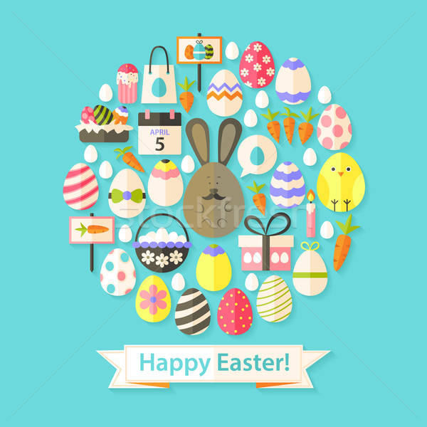 Easter Holiday Greeting Card with Flat Icons Set circular shaped Foto stock © Anna_leni