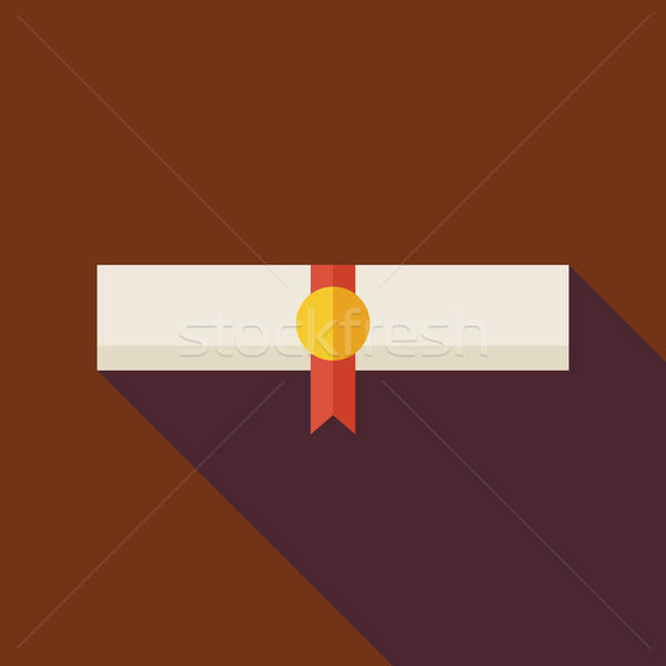 Flat Paper Graduate Diploma Illustration with long Shadow Stock photo © Anna_leni