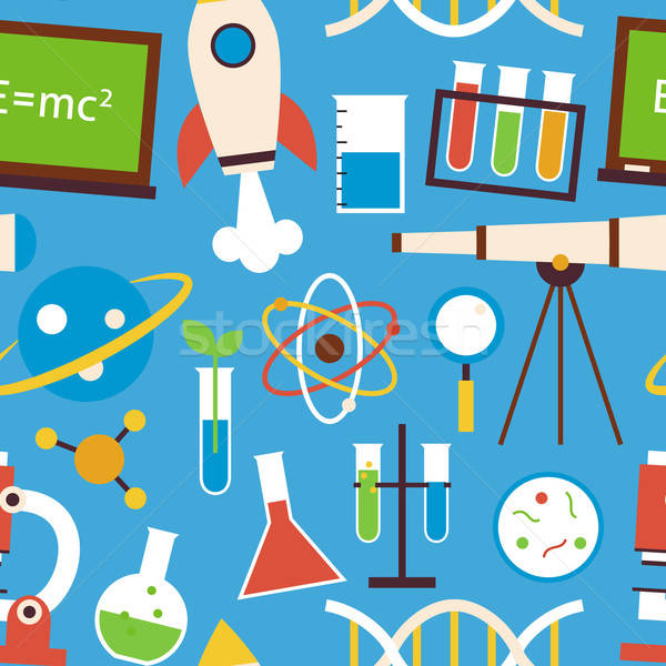 Flat Seamless Pattern Science and Education Objects over Blue Stock photo © Anna_leni