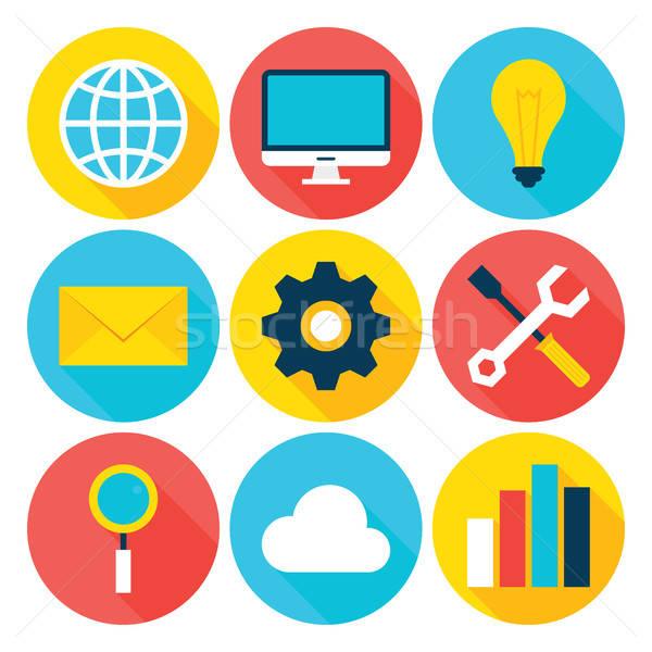 Business Big Data Flat Circle Icons Set Stock photo © Anna_leni