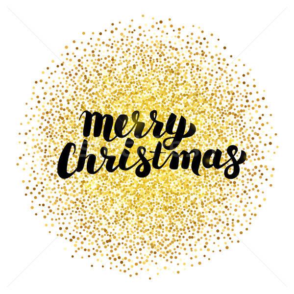 Merry Christmas Lettering.Merry Christmas Lettering Over Gold Vector Illustration