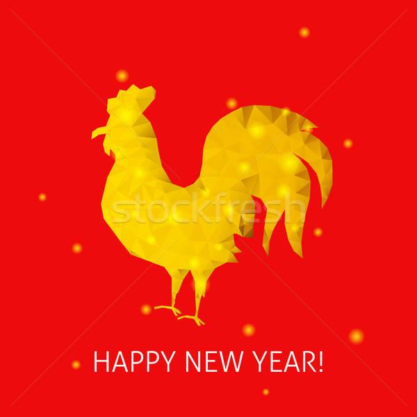 Vermelho galo feliz ano novo inverno férias chinês Foto stock © Anna_leni