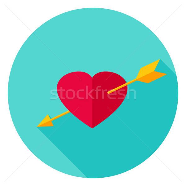 Arrow Pierced Heart Circle Icon Stock photo © Anna_leni