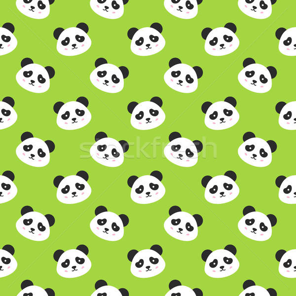 Happy Panda Faces Seamless Pattern Stock photo © Anna_leni