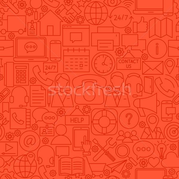 Kapcsolat piros vonal csempe minta skicc Stock fotó © Anna_leni