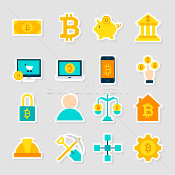 Cryptocurrency Bitcoin Stickers Stock photo © Anna_leni
