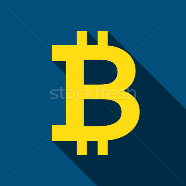 Bitcoin icon lang schaduw business geld Stockfoto © Anna_leni