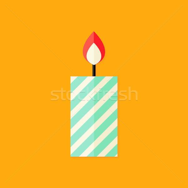 Candle with Fire Christmas Flat Icon Stock photo © Anna_leni