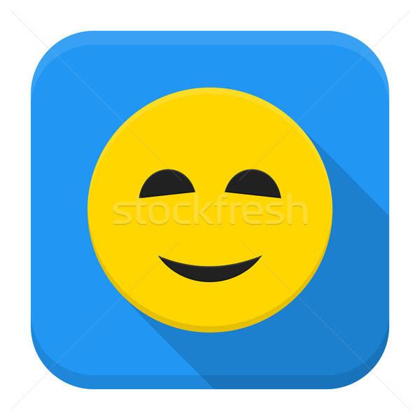 Smiling yellow smile app icon with long shadow Stock photo © Anna_leni