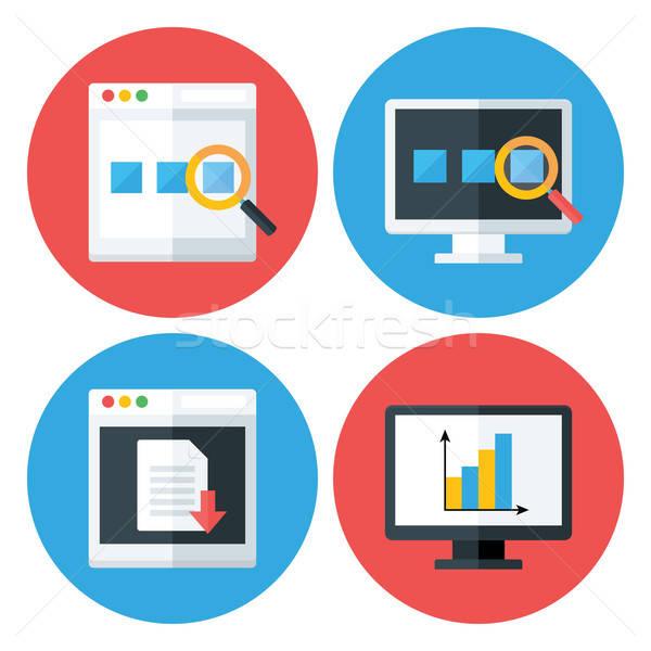 Computador navegador tecnologia círculo estilizado Foto stock © Anna_leni