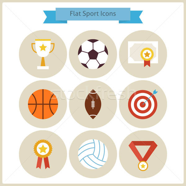 Flat Sport and Competition Winning Icons Set Stock photo © Anna_leni