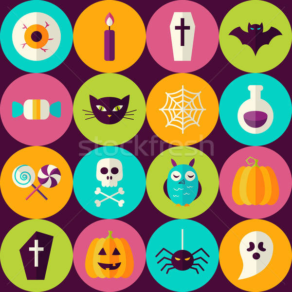 Flat Halloween Party Trick or Treat Seamless Pattern with Colorf Stock photo © Anna_leni
