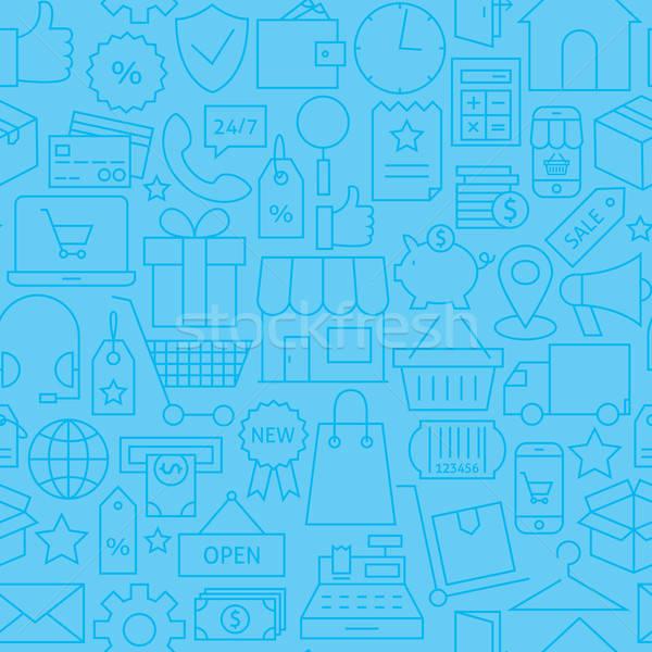 Thin Line Online Shopping Commerce Seamless Blue Pattern Stock photo © Anna_leni