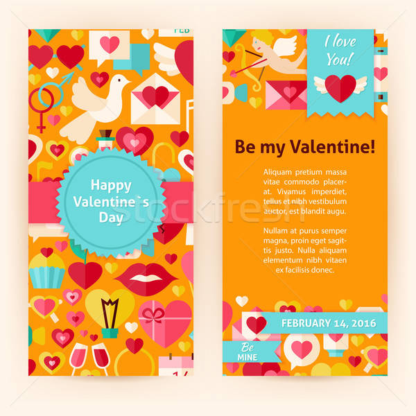 Flyer Template of Happy Valentine Day Objects and Elements Stock photo © Anna_leni