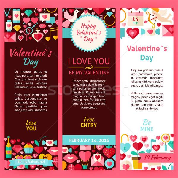 Valentine Day Vector Party Invitation Template Flyer Set Stock photo © Anna_leni