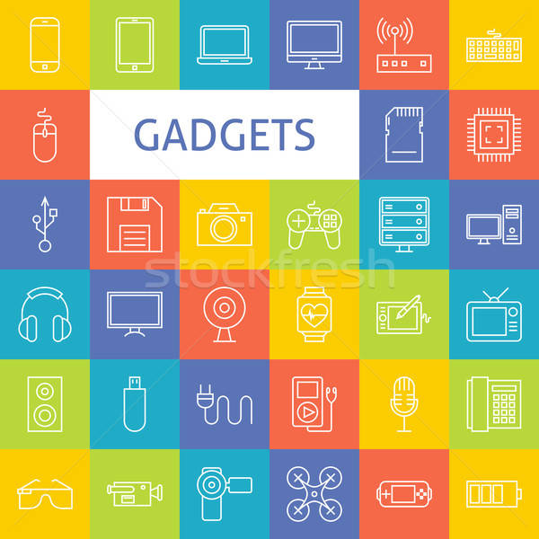 Stock photo: Vector Line Art Electronic Gadgets Icons Set