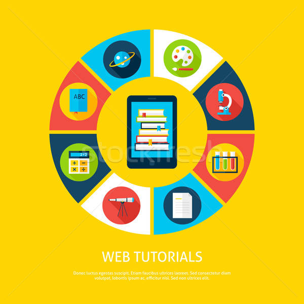 Web Tutorials Flat Infographic Concept Stock photo © Anna_leni