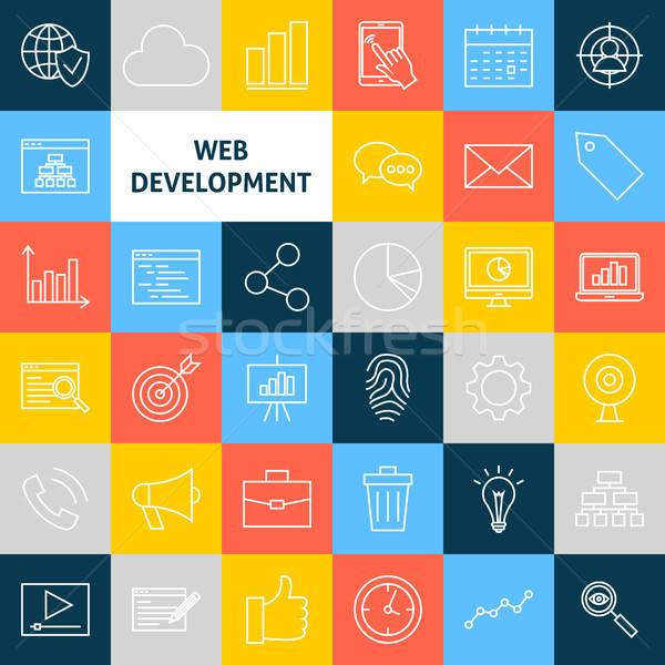 Zdjęcia stock: Wektora · line · internetowych · rozwoju · ikona · cienki