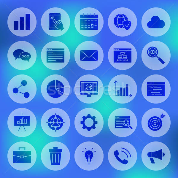 Stock photo: Solid Circle Website Development Icons