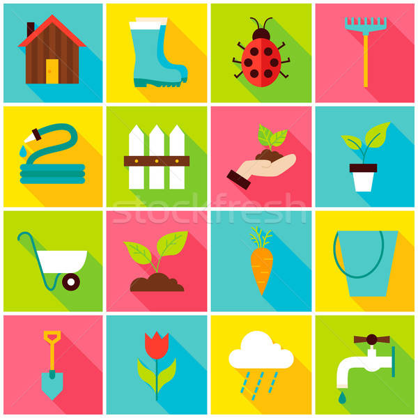 Spring Gardening Colorful Icons Stock photo © Anna_leni