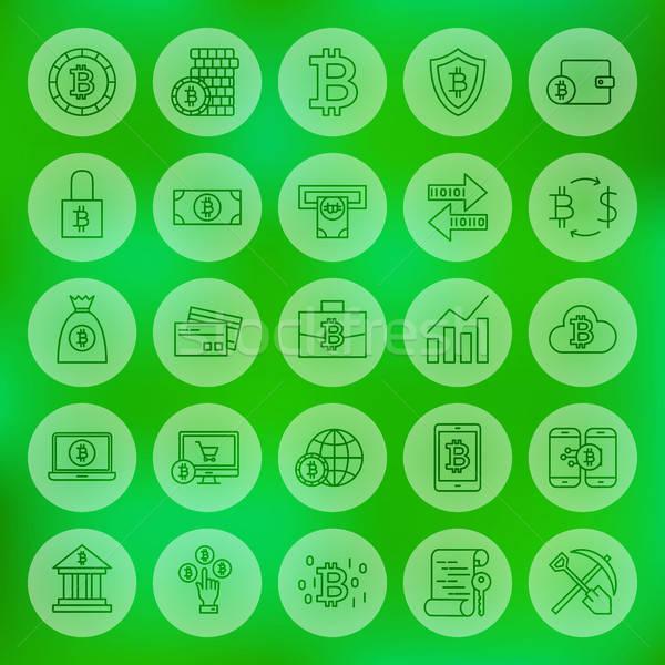 линия веб bitcoin иконки Сток-фото © Anna_leni
