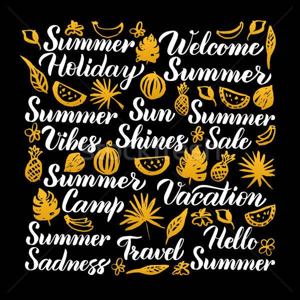 Lata kaligrafia projektu sezonowy strony słońce Zdjęcia stock © Anna_leni